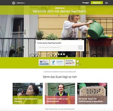 Kostenlose Internet Plattform für das nachbarschaftliche Nebeneinander: Nebenan.de