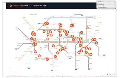 Karte für kostenlose Sportstätten in München